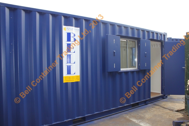 container conversion - blue 20ft exterior